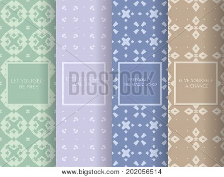 Set Of Seamless Patterns In Soft, Pale Colors. Collection Of Simple, Minimalistic Vector Backgrounds