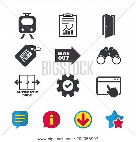 Train railway icon. Automatic door symbol. Way out arrow sign. Browser window, Report and Service signs. Binoculars, Information and Download icons. Stars and Chat. Vector
