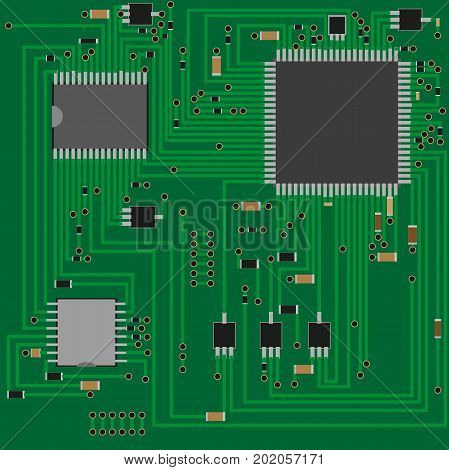 Electronic printed circuit Board . Electronics technology . Chip , resistance , transistor  resistor  Vector illustration