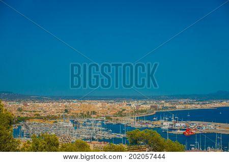 PALMA DE MALLORCA, SPAIN - AUGUST 18 2017: Panoramic view of the city of Palma de Mallorca, in a blue sunny day in Palma de Mallorca, Spain.