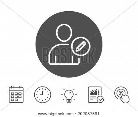 Edit User line icon. Profile Avatar with pencil sign. Person silhouette symbol. Report, Clock and Calendar line signs. Light bulb and Click icons. Editable stroke. Vector