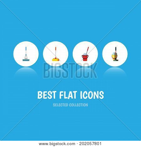 Flat Icon Mop Set Of Bucket, Cleaning, Mop And Other Vector Objects