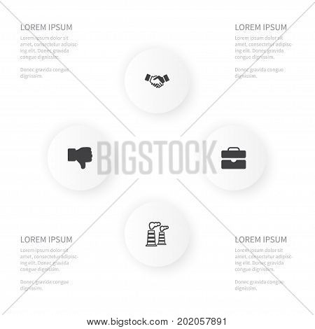 Icon Job Set Of Agreement, Bad, Briefcase And Other Vector Objects