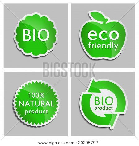 Green sticker Natural Bio Eco product Set. Vector Natural product icon for packaging design web-design advertising booklets Bio logo creation natural product design. Organic natural cosmetic and food label.