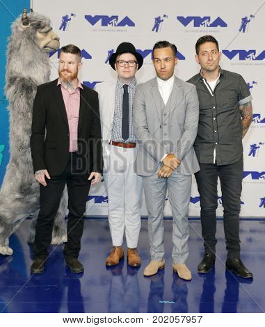 Patrick Stump, Pete Wentz, Joe Trohman and Andy Hurley of Fall Out Boy at the 2017 MTV Video Music Awards held at the Forum in Inglewood, USA on August 27, 2017.