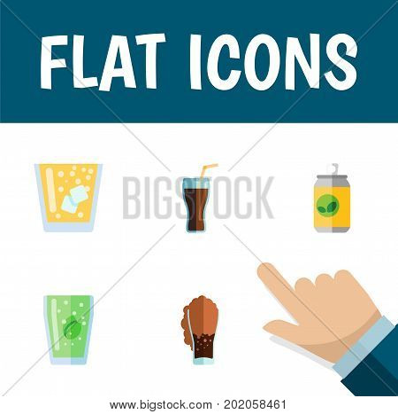 Flat Icon Beverage Set Of Fizzy Drink, Cup, Soda And Other Vector Objects