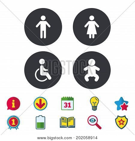 WC toilet icons. Human male or female signs. Baby infant or toddler. Disabled handicapped invalid symbol. Calendar, Information and Download signs. Stars, Award and Book icons. Vector