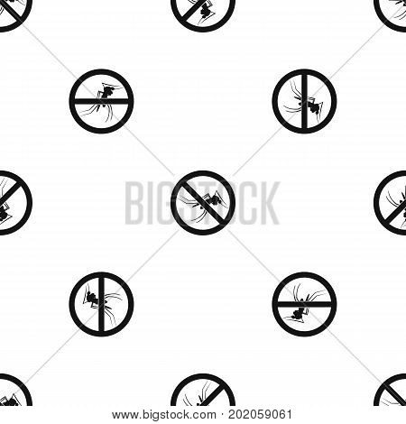 No mosquito sign pattern repeat seamless in black color for any design. Vector geometric illustration