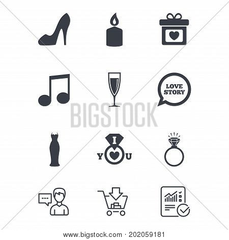 Wedding, engagement icons. Ring with diamond, gift box and music signs. Dress, shoes and champagne glass symbols. Customer service, Shopping cart and Report line signs. Online shopping and Statistics