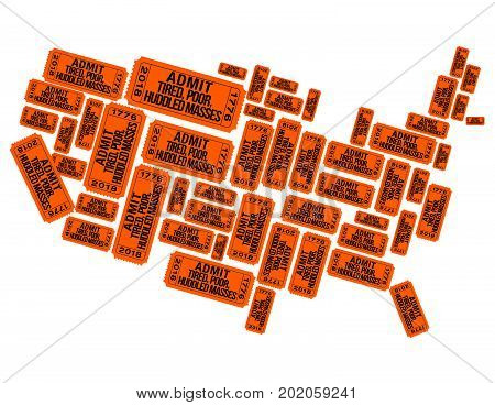 America made out of welcoming raffle tickets