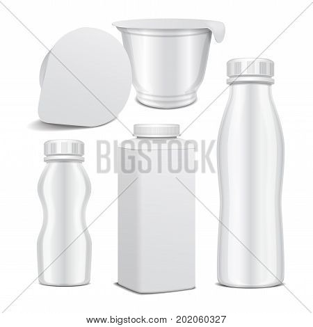 Set of vector plastic bottle and round white glossy plastic pot for dairy products. For milk, drink yogurt, cream, dessert. Realistic mockup template for your design
