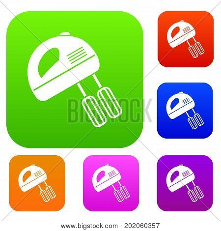 Electric mixer set icon in different colors isolated vector illustration. Premium collection
