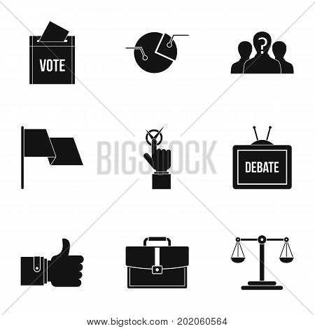 Legal icons set. Simple style set of 9 legal vector icons for web design