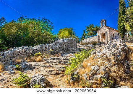 Scenic landscape view at countryside in Dalmatia region, Island Hvar.