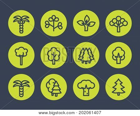 Trees line icons set, eps 10 file, easy to edit