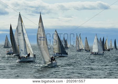 Victoria BC,Canada,May 24th 2014.Yachts and sailboats lineup at the start line for the annual Swiftsure Yacht race held in Victoria BC.