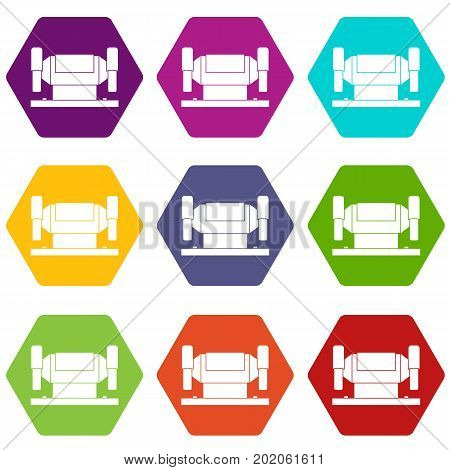 Metalworking machine icon set many color hexahedron isolated on white vector illustration