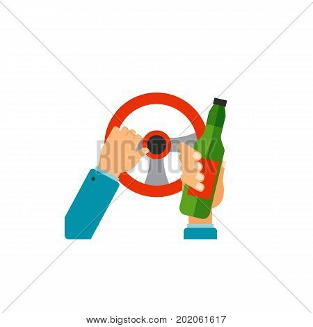 Icon of hands of driver holding steering wheel and bottle. Do not drink and drive concept, drunk driving, alcoholism. Car accident concept. Can be used for topics like transportation, automobiles, road safety