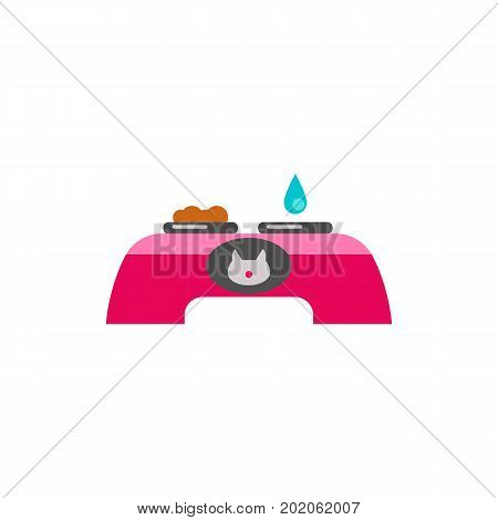Icon of table with food and water bowls. Cat food, cat accessory, animal feeding. Cat care concept. Can be used for topics like pet care, pet shop, domestic animals