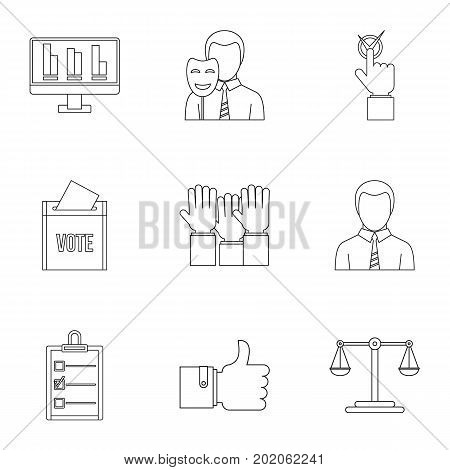 Vote icons set. Outline style set of 9 vote vector icons for web design