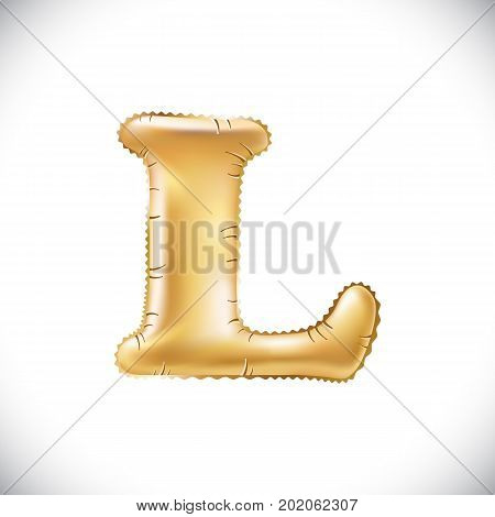 Balloon Letter L. Realistic 3D Isolated Gold Helium Balloon Abc Alphabet Golden Font Text. Decoratio