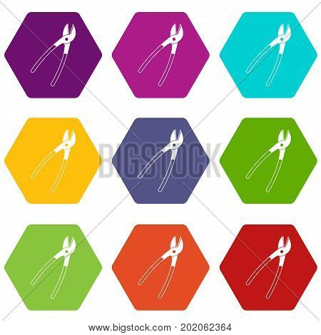 Metal shears icon set many color hexahedron isolated on white vector illustration