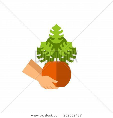 Vector icon of hands holding houseplant. Potted plant, horticulture, green thumb. House plants concept. Can be used for topics like hobby, botany, ecology