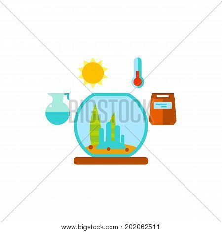 Vector icon of plants and light, temperature, water, and plant food symbols. Aquarium, houseplant care, pet care. House plants concept. Can be used for topics like gardening, hobby, botany