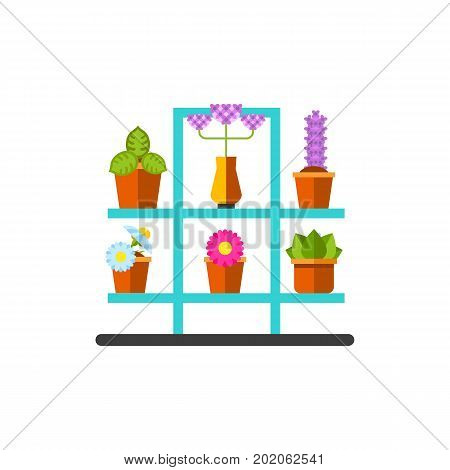 Vector icon of houseplants on shelves. Potted flowers, horticulture, flower shop. House plants concept. Can be used for topics like hobby, flowers, business