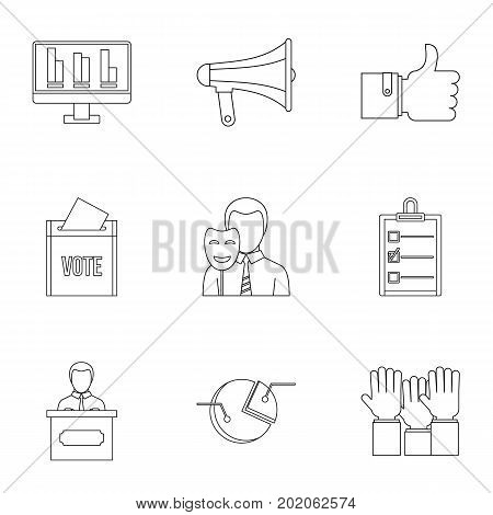 Consulting icons set. Outline style set of 9 consulting vector icons for web design