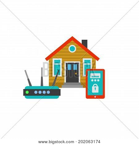 Home conditioner controlled with router and smartphone. Home assistant, smart house application, household appliance. Smart home concept. Can be used for topics like technology, software, modern house