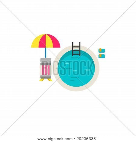 Icon of swimming pool with chaise lounge and umbrella. Hotel pool, resort, vacation. Aqua park concept. Can be used for topics like leisure, summer, travel