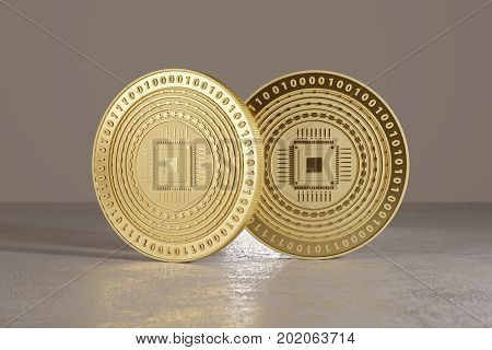 Golden coins on metal floor with cpu logo as example for bitcoin online banking or fin-tech