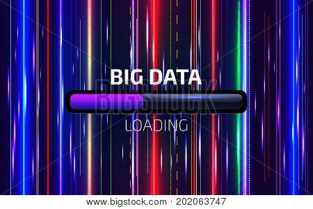 Big Data Loading. Movement Of Lines And Dots Array. Digital Motion Background. Visualization Of Data