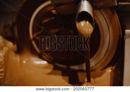 warm brawn chocolate fondue machine close up