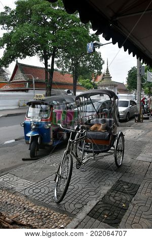 Bangkok, Thailand - Aug 4, 2017. Famous three wheeled taxi in Thailand - tuk tuk motorcycle. CNG powered machine. A red cat is sitting in the tuktuk.