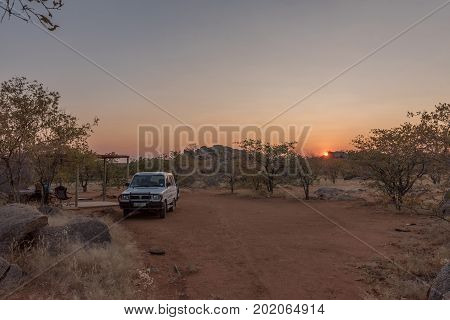 HOADA NAMIBIA - JUNE 28i 2017: Sunrise at a campsite in the Hoada Rest Camp in the Kunene Region of Namibia