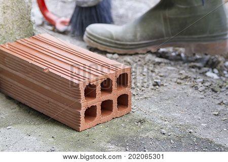 Ceramic brick used in building works in Spain