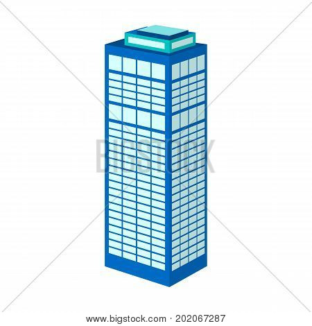 High-rise building of a skyscraper. Skyscraper single icon in cartoon style vector symbol stock illustration .
