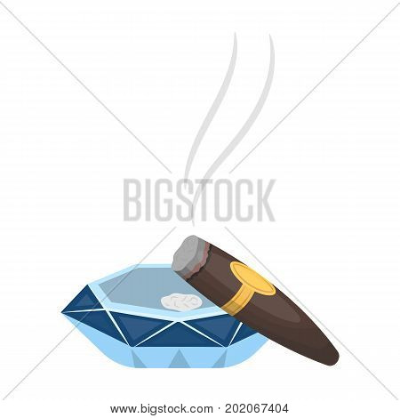 A smoking cigar in an ashtray. Smoking cigars single icon in cartoon style vector symbol stock illustration .