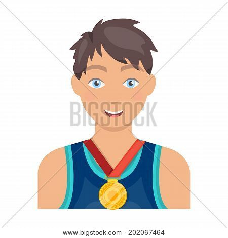 Athlete awarded a gold medal. Sport and reward single icon in cartoon style vector symbol stock illustration .