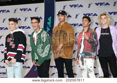LOS ANGELES - AUG 27:  Brandon Arreaga, Nick Mara, Zion Kuwonu, Edwin Honoret, Austin Porter, PrettyMuch at the MTV Video Music Awards 2017 at The Forum on August 27, 2017 in Inglewood, CA