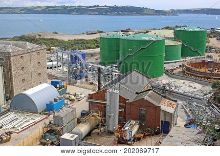 Industrial buildings in Falmouth Docks in Cornwall