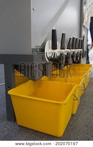 Agricultural machinery equipment - grains and seeds in mixer - high technology for agricultural, vertical shot