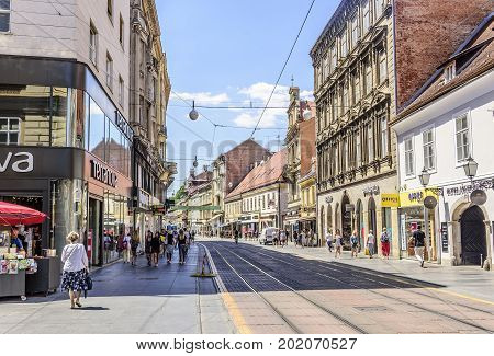 ZAGREB, CROATIA - JULY 17, 2017: Square Ban Josip Jelacic with tourists on a summer day in Zagreb. City of Zagreb is the capital of Croatia.
