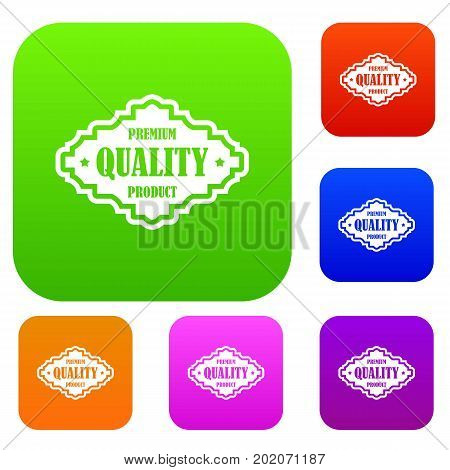 Premium quality product label set icon in different colors isolated vector illustration. Premium collection