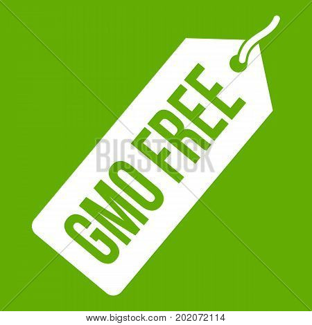 GMO free price tag icon white isolated on green background. Vector illustration