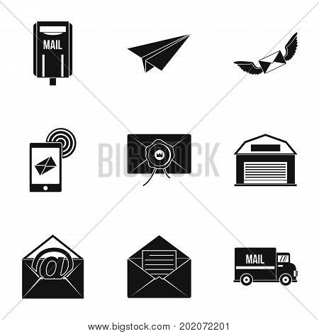 Send mail icons set. Simple style set of 9 send mail vector icons for web design