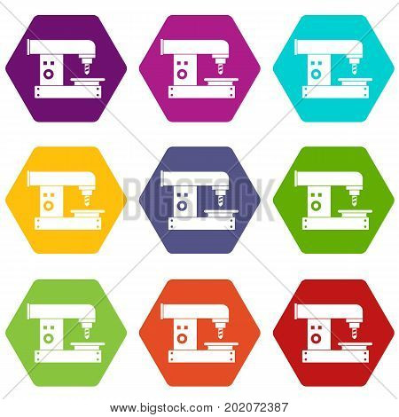 Drilling machine icon set many color hexahedron isolated on white vector illustration