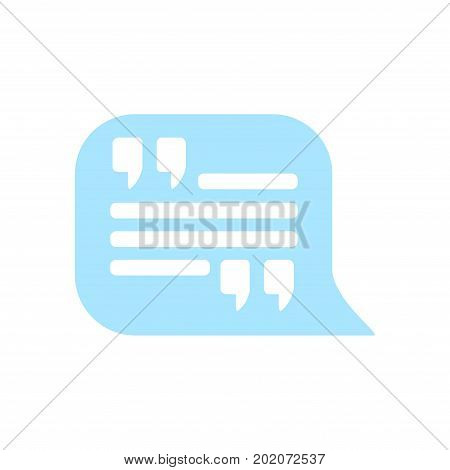 Quote icon. Quotation mark in speech bubble symbol. Direct sign.